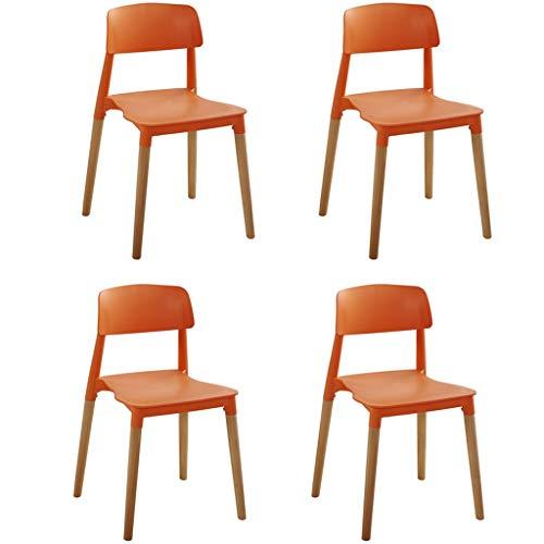 CHQYY Chaise - Chaise empilable - Jardin en plastique Chaise avec 4 pieds en bois massif, Maison d'extérieur Fauteuil for jardin, terrasse et balcon (Couleur : Orange)