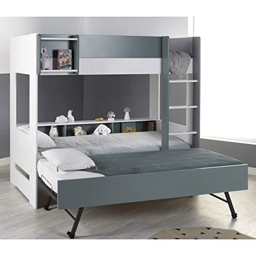 Alfred & Cie Magnus - Pack litera y cama nido plegable para cama de matrimonio, color blanco y verde