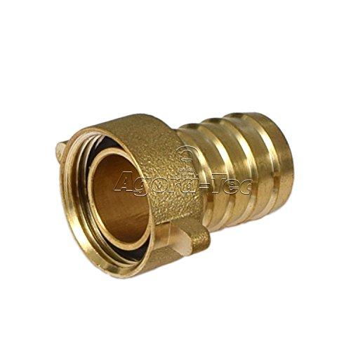 Agora-Tec® Messing Schlauchtülle 3/4 Zoll (19 mm) auf 3/4 Zoll IG (24,2 mm) Industriequaltät mit Flachdichtung für 3/4 Zoll Gartenschlauch mit einen Innendurchmesser von 19 mm