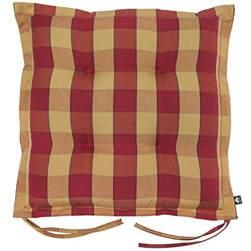 Kopu®-zitkussen Country Red   Zitkussen voor tuinstoelen   100% Dralon   Red zitkussen 50 x 50 cm   Stevig schuim voor extra comfort   Kussen afgewerkt met teflonlaag