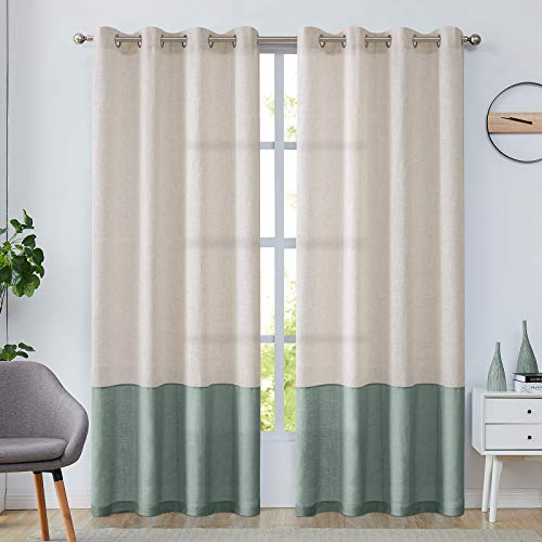 jinchan Linen Textured Curtains Color Block for Living Room Bedroom Room Darkening Window Curtain Treatment 1 Pair 84 inch - Flax & Spruce