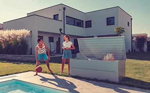 ILESTO Aufbewahrungsbox aus Stahl, Ben (692L): Auflagenbox wasserdicht XL | Kissenbox für Ihren Garten 165x85x69cm | Stauraum für den Außenbereich | Silber Metallic - 5