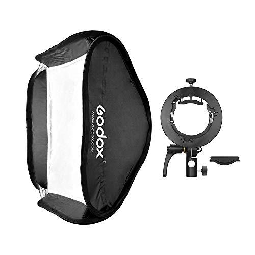 Godox 60 * 60 cm Diffusore softbox con staffa tipo S2 Borsa per il trasporto con montaggio Bowens per Speedlite Flash Compatibile con Godox serie AD200Pro / V1 / serie TT350 / serie V860Ⅱ / AD400Pro