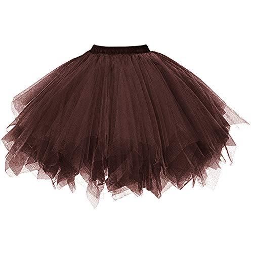 DresseverBrand Damen Petticoat 50er Rockabilly Jahre Retro Tutu Ballet Tüllrock Cosplay Crinoline Schokolade Small/Medium