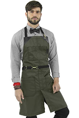 Under NY Sky No-Tie Moss Green Apron – Durable Twill with Leather Reinforcement and Split-Leg – Adjustable for Men, Women – Pro Barber, Tattoo, Barista, Bartender, Baker, Hair Stylist, Server Apron
