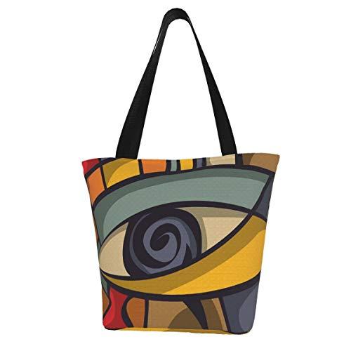 Tote Bag Abstract Eye Concept (Vector) Cocina Bolsas de comestibles reutilizables Bolsa de compras de lona para exteriores 11X13 pulgadas
