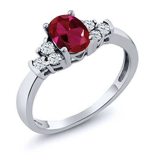 Gem Stone King 925 Sterling Silver Red Created Ruby and White Topaz Women's Ring 0.92 Ctw Oval (Size 7)