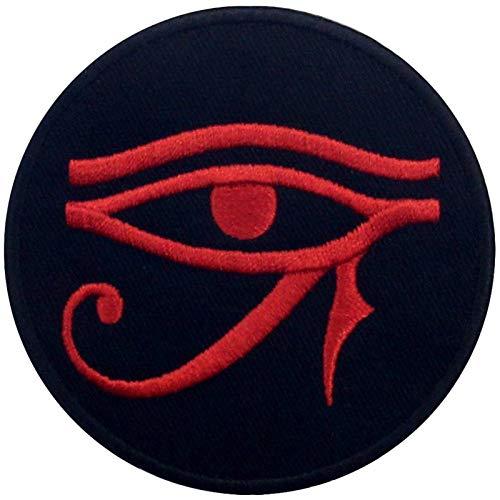 Ojo de Horus Wedjat Parche Bordado de Aplicación con Plancha  Negro rojo