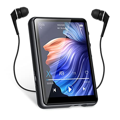 32Go Lecteur MP3 Bluetooth 5.0 MECHEN 2.4 Pouces écran Tactile Complet Lecteur Musique Portable pour la Course avec Enregistrement en Ligne, Radio FM, Haut-Parleur, Supportant jusqu'à 128Go