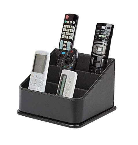 JACKCUBE Design 3 Compartments Black Leather Remote Control Organizer Holder, Controller TV Guide, Media Storage Box - :MK122B