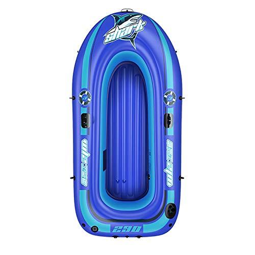 Tingeart Barco Inflable Kayak, Canoa Barco de Pesca Portátil Inflable En Bote Plegable De Goma Boat Bote de Goma PVC Azul 236X138X45CM