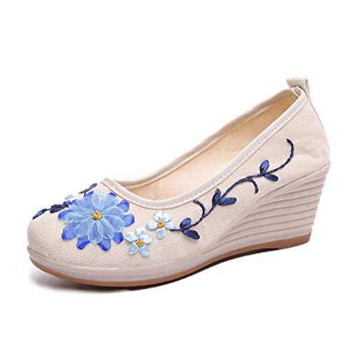 Minetom Damen Vintage Ethnische Bestickte Schuhe Tanzschuhe Plateau Keilabsatz Mokassins Slipper Ballerina Leinen Blumen Halbschuhe B Beige 35 EU