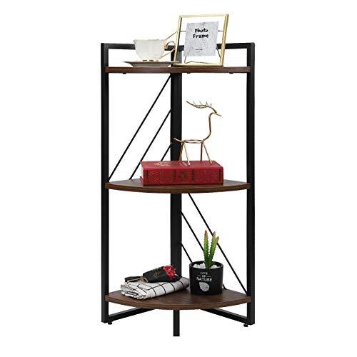 NOZE 3 Tier Corner Bookshelf for Living Room, Study and Kitchen, Industrial Corner Bookcaes Open...