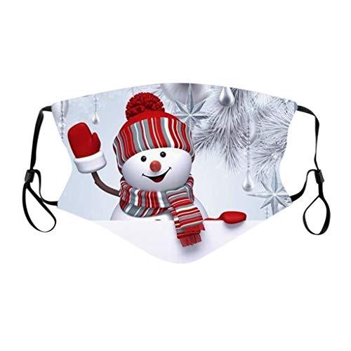 PPangUDing Weihnachten Mundschutz Waschbar Baumwolle Wiederverwendbar Atmungsaktive Staubdicht Mund und Nasenschutz Bandana Halstuch Multifunktionstuch für Herren und Damen