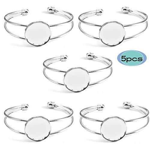 SEVENWELL Bezel Tray Blank Cuff Bangles Bracelets 5pcs, 20mm Blank Cuff Style Bracelet Trays for Bracelet DIY Making