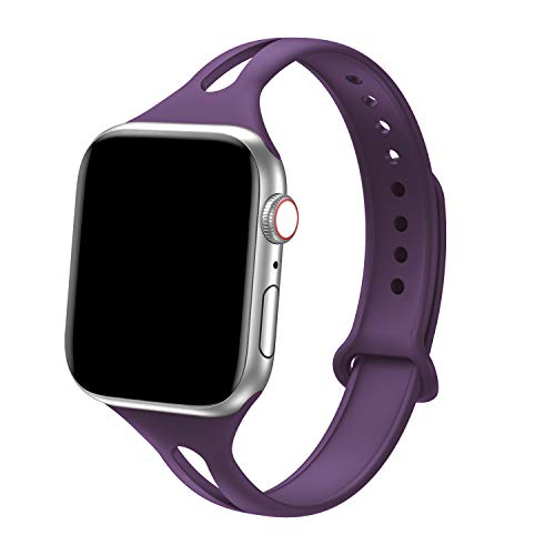 Bandiction Sport Band Compatible with Apple Watch 38mm 40mm, Soft Silicone Sport Strap Replacement Narrow Bands for iWatch Series 4 3 2 1 Sport Edition Women Men (Modena)