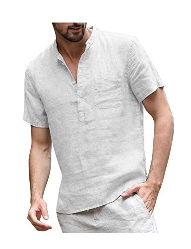 COOFANDY Herren Leinenshirt Kurzarm Stehkragen Leinen mit Brusttaschen Sommer Slim Fit Casual Leicht Freizeit Shirts für Männer Weiss L