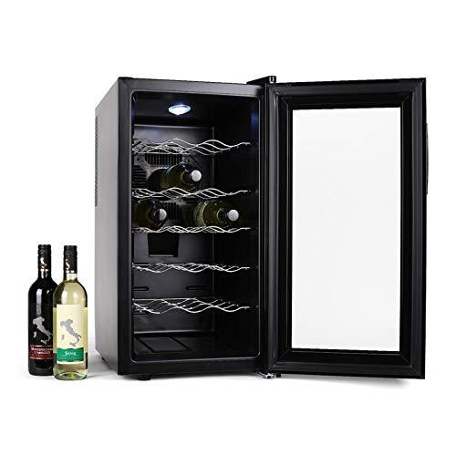Klarstein Vivo Vino - Cave à vins, Porte en verre doublement isolée, 52L, 18 bouteilles standards, 5 étagères amovibles, Eclairage intérieur LED, Consommation : 70W, Noir