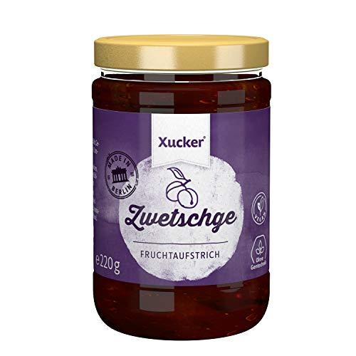 Zwetschge Fruchtaufstrich mit Xylit | fruchtiger Brotaufstrich von Xucker | Ohne Gentechnik | Vegan | für Diabetiker geeignet | 220 g Glas | 74 % Fruchtanteil