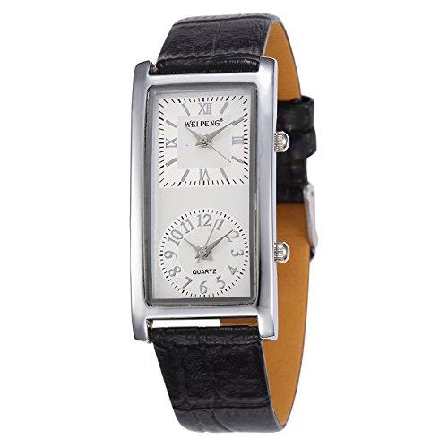 Unendlich U Fashion Damen Quarzarmbanduhr Schwarz PU Lederband Armbanduhr mit Doppelt Zifferblatt Römische, Arabische Ziffern für Frauen/Mädchen