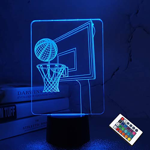 Coopark Basketball 3D Lamp, Backboard Optical Illusion LED Bedside Night Light with Remote Control 16 Colors Changing, Bedroom Decoration Best Birthday Gifts for Sport Enthusiast Kids Boy Teen