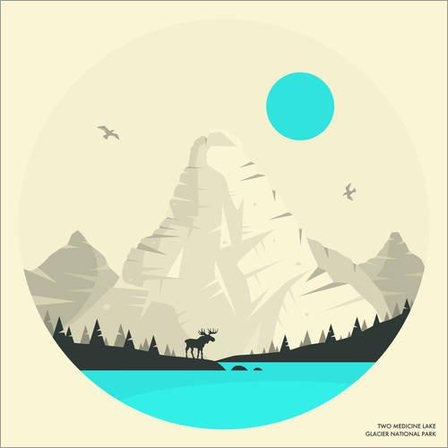 Posterlounge Alubild 50 x 50 cm: Glacier National Park von Jazzberry Blue