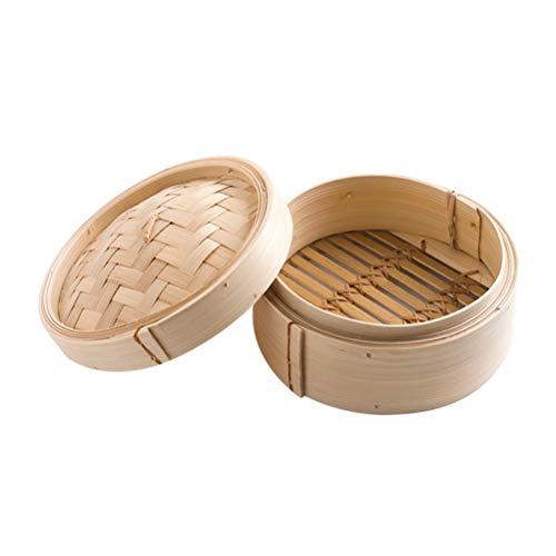 UPKOCH piroscafo di bambù Cesto a 1 Piano con Coperchio 8 Pollici in Stile Cinese Dim Sum Dessert Utensili da Cucina Cucina Ristorante di casa