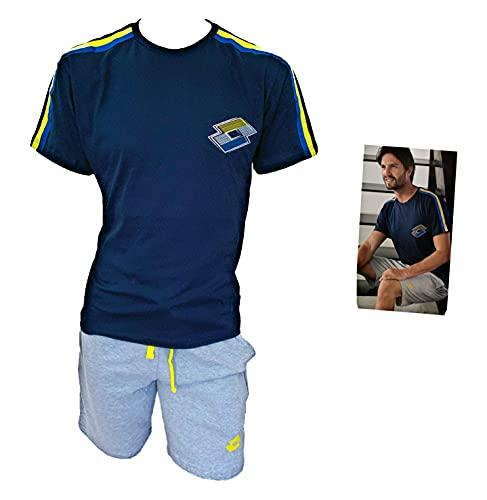 Lotto Completo Uomo Sportivo, T-Shirt + Pantaloncino, Completo Uomo Estivo in Cotone, Pigiama Uomo Corto Estivo Homewear (5084 Blu, L, l)