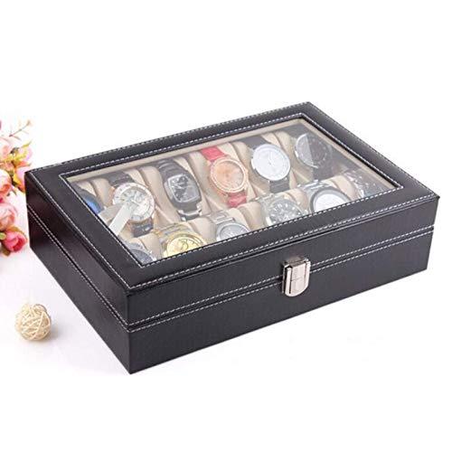 Exhibidor del organizador del estuche de la caja de reloj de PU retro de 10 ranuras para hombres y mujeres, caja de PU brillante con almohadas de cuero suave