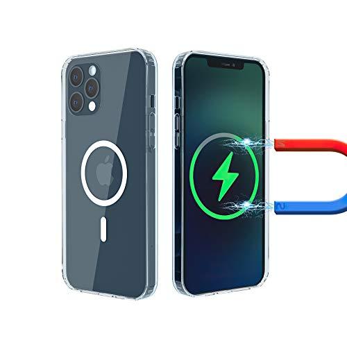JHXIZO Funda Transparente paracon imanes Integrados el iPhone 12 Pro MAX 6.7'' Fina Silicona Transparente TPU Carcasa Airbags incorporados Anti-Choque Anti-arañazos Compatibile con Cargador MagSafe