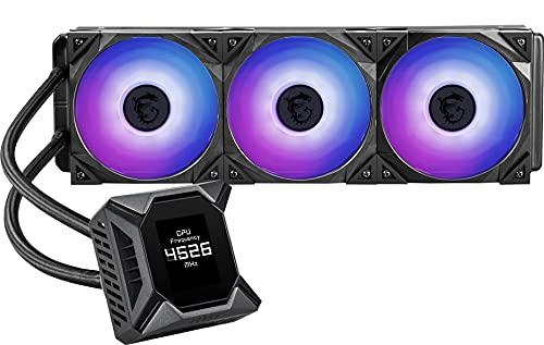 """MSI MPG CORELIQUID K360 - Refrigeración Líquida AIO CPU, Radiador de 360, TORX FAN 3.0 en la Bomba de 60mm, Pantalla LCD 2.4"""", 3 x 120mm Ventiladores ARGB, Amplia compatibilidad Intel/AMD"""