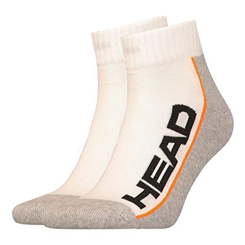 HEAD, Stripe Quarter, sportsokken, pak van 2, wit, lichtgrijs, sokken, 39-42