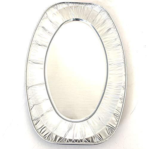 Set di 10 vassoi ovali in Alluminio - Vassoi di Presentazione per Dolci o Buffet Freddo (35,1 x 24,3 x 2 cm)