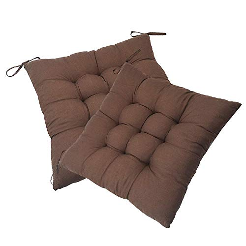 XNDCYX Chair Cushion, Chair Pads Cushion Thickened Wicker Cushion Outdoor Seat Cushions with Ties for Non Slip for Dining Chairs Home Kitchen Garden Patio Cushion, 40X40 cm,Brown,2Pack
