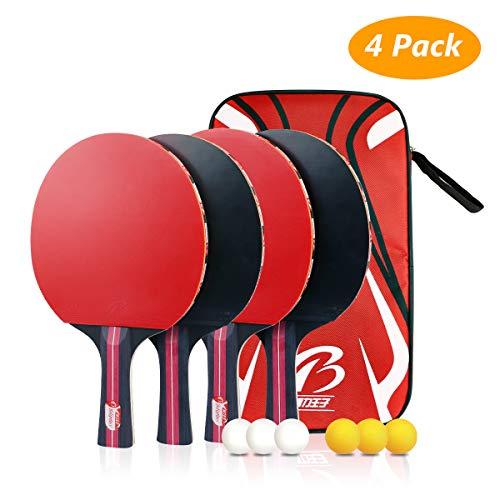 Tencoz Raquette de Ping Pong Professionnel, Raquette de Tennis de Table Ping Pang Set, 4 Battes et 6 Balles pour Débutants et Joueurs Avancés