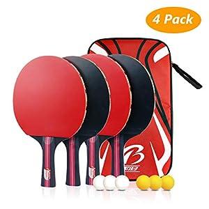 Tencoz Juego de Tenis de Mesa, Raquetas de Tenis de Mesa Profesionales 4 Raquetas de Ping Pong Alta Velocidad Juego de Tenis de Mesa para el Juego de Interior al Aire Libre