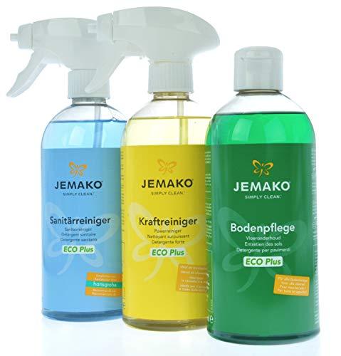 Jemako - Kraftreiniger ECO Plus (500ml) - Sanitärgrundreiniger (500ml) - Jemako Bodenpflege ECO Plus (500ml) - inkl. Sinland Microfasertuch & 2 x Schaumpumpe