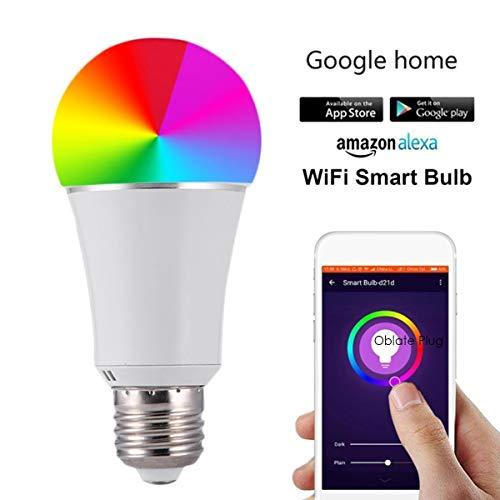 B22 / E27 / E14 Bombilla LED inteligente WiFi Control remoto RGB Regulable Luz Soporte de voz Control (Size : B22)