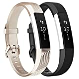 Tobfit Waterproof Sport Bands Compatible with Fit bit Alta/Alta HR/Ace, Soft TPU Wristbands, Large, Champagne Gold/Black fitness trackers Apr, 2021
