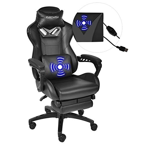 Massage Gaming Stuhl mit Fußstütze, Ergonomischer Bürostuhl mit einstellbare Armlehne, Computer Stuhl Verstellbare Rückenlehne, 360° Drehbar(Schwarz)