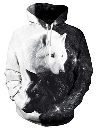 Rave on Friday Herren Damen Pullover 3D Druck Pulli mit Tasche Digitaldruck Pulli mit Wolf Aufdruck Langarm Warm Sweatshirt Herbst Winter L