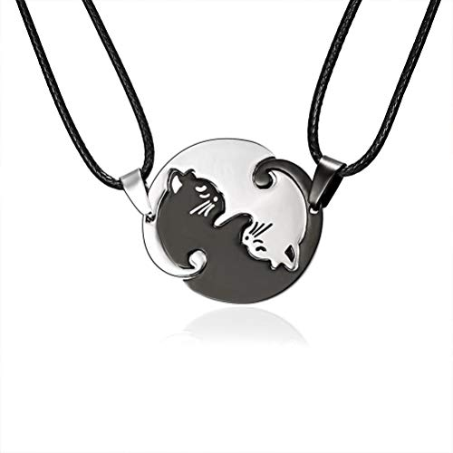Dan&Dre Valentine's Day Ring, 2 Pieces/Set Fashion Stitching Couple Necklaces Stainless Steel Best Friends Forever Cat Pendant Necklaces Gift for Women Men