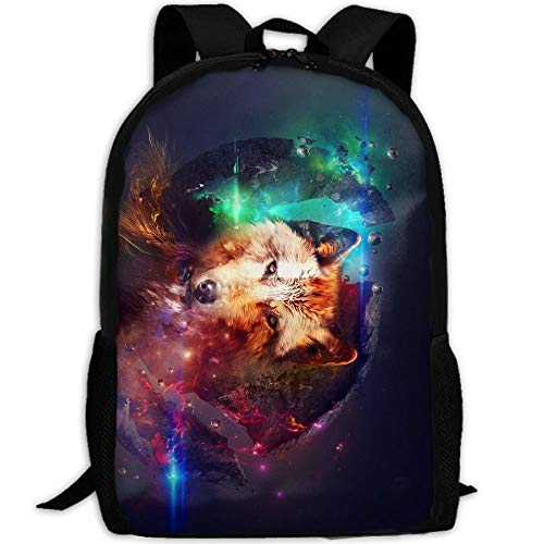 LOVE GIRL Galaxy Wolf Inside Fox Adult Travel Backpack School Bookbag Casual Daypack Oxford Outdoor Laptop Bag Computer Sacs à bandoulière
