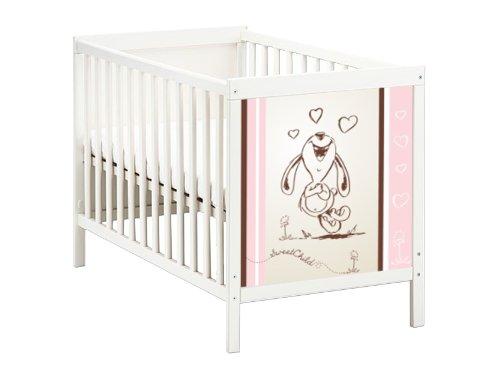 STIKKIPIX Happy Rabbit in pink Möbelsticker/Aufkleber für das Babybett SUNDVIK von IKEA - SB05 - Möbel Nicht Inklusive