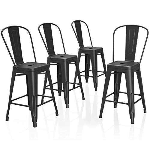 VIPEK 24 Inches Counter Height Bar Stools Commercial Grade Patio Bar Chairs Metal 24' Height Barstool with Removable High Back Side Dining Chairs for Bistro Pub Cafe Kitchen, Set of 4, Matt Black