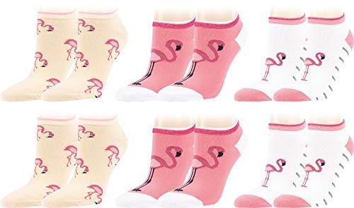 Vitasox Kurze Komfort Baumwoll Sneaker Socken für Damen in verschiedenen Designs, Pinker Flamingo Tier Print, Vogel Motiv, Streifen, Bunte Sommer Sneakersocken ohne Naht, 6 Paar, 39-42