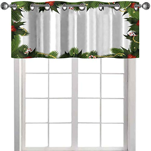 window valances Frame Style Garland Pattern Mistletoes Candy Canes and Chain on Fir Tree Motif 36'W x 18'L window valances for living room Fern Green Red