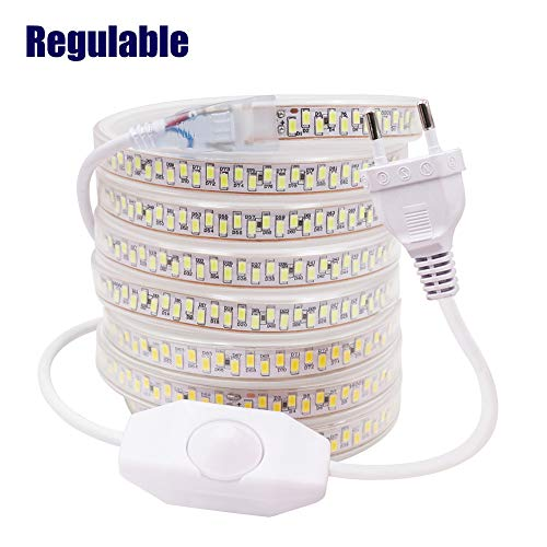 XUNATA 2m Regulable Tira LED, 5630 SMD 180leds/m, IP67 Impermeable, 220V Escalera de Techo Blancas Tira de LED Cocina Cable Luces Blanco frio