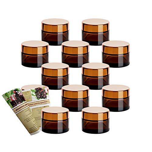 gouveo Juego de 12 tarros vacíos de 50 ml de cristal marrón para cremas incl. tapa giratoria, latas para cremas, latas y tarros pequeños (50 ml, cristal marrón dorado)