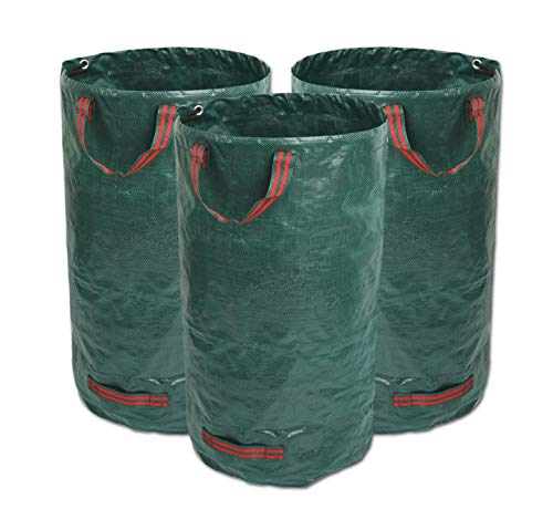GIOVARA 3 x 120L Garden Waste Bags,Waterproof Heavy Duty Large Refuse Sacks with Handles,Foldable and Reusable (3)